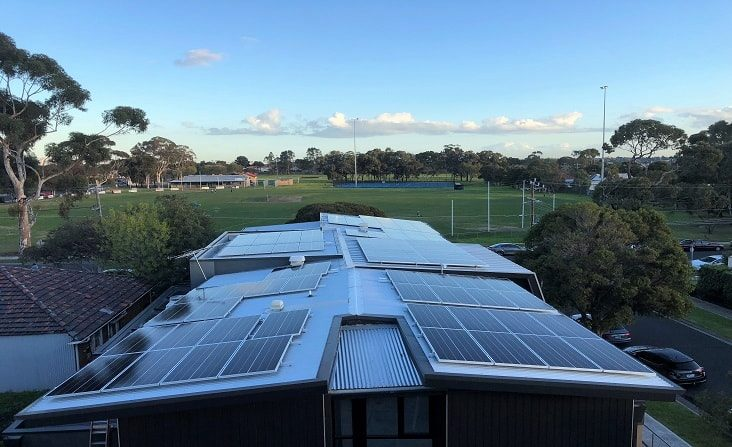 Solar panels on roof of medical clinic in Pascoe Vale